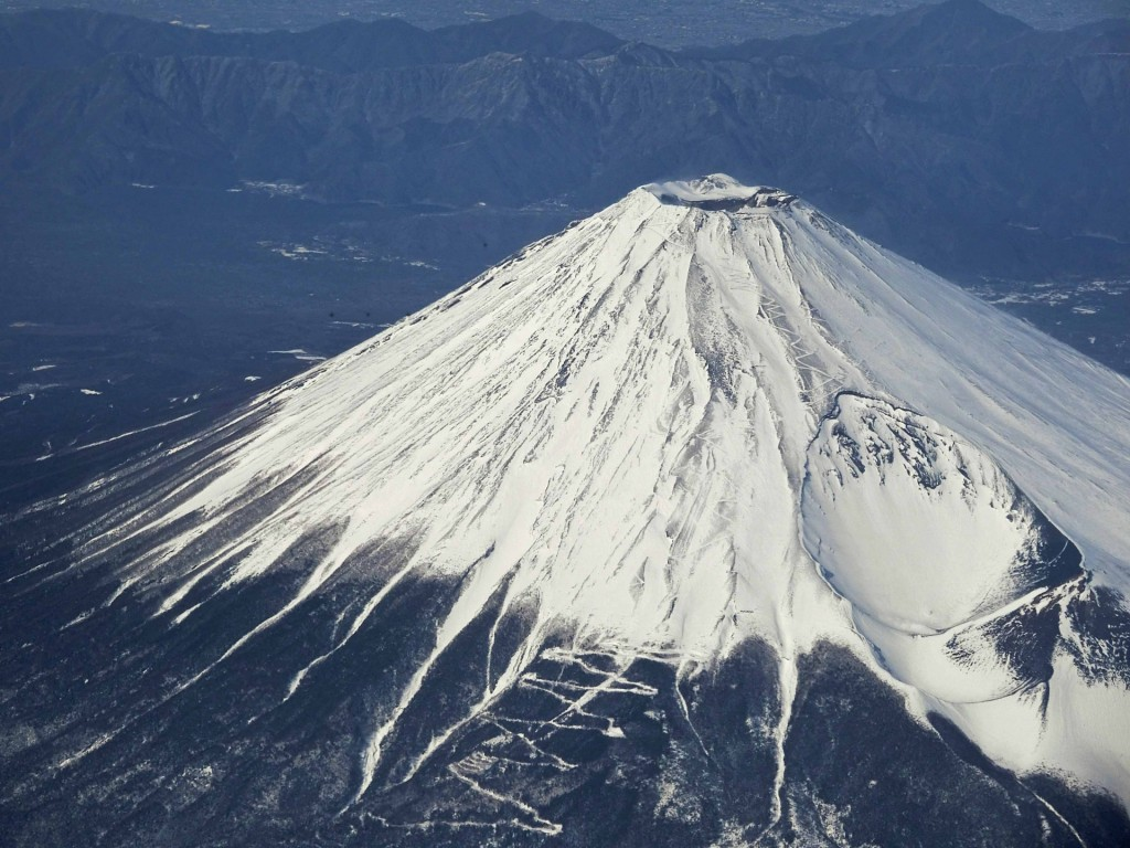 The crater rim of Mt. Fuji